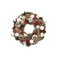 "20"" Frosted Pine Cone, Twigs and Berries Artificial Christmas Wreath - Unlit"