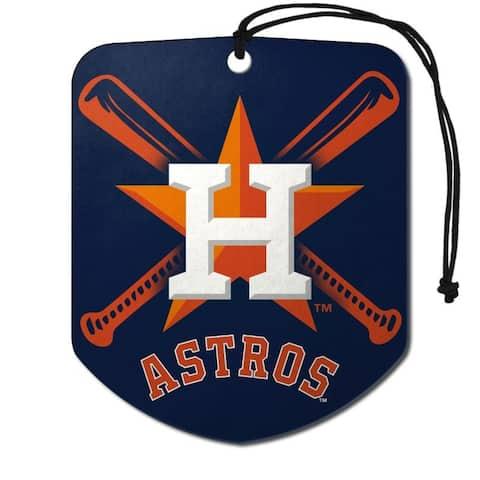 Houston Astros Air Freshener Shield Design 2 Pack - 2.75x3.5 inches.