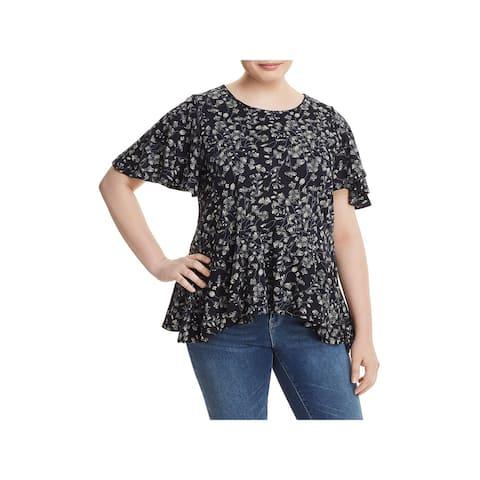 Lucky Brand Womens Plus Pullover Top Bite Peplum Hem Floral Print