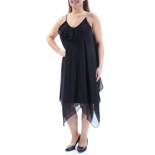 Womens Black Spaghetti Strap Below The Knee Trapeze Cocktail Dress Size: 8
