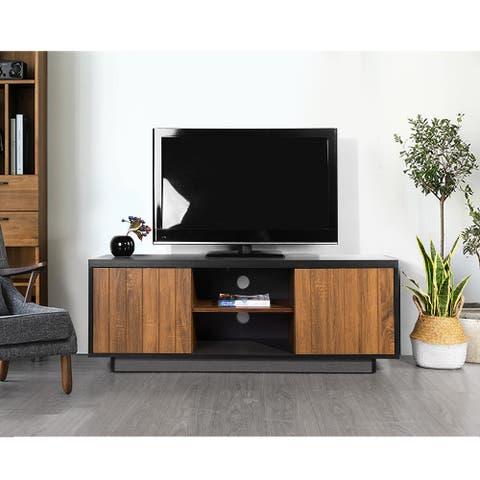 Mid-Century Modern 2 Door TV Stand with Storage Cabinet