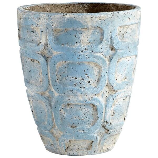 """Cyan Design 09613 Naples 14-1/2"""" Diameter Cement Planter - Antique Blue"""