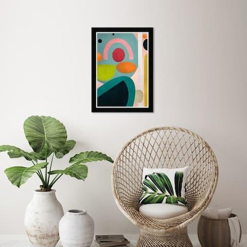 Wynwood Studio 'Bright Fun' Abstract Wall Art Framed Print Shapes - Blue, Orange