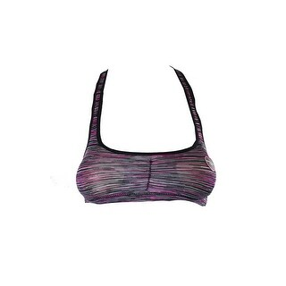 Material Girl Juniors Pink And Black Striped Sports Bra XS