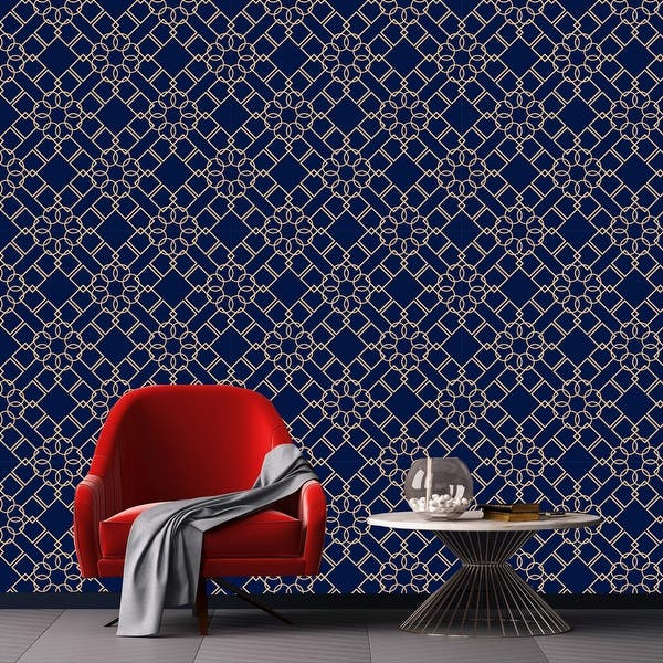 Shop Navy Blue Geometric Removable Wallpaper 10 Ft H X 24 Inch W Overstock 31707971
