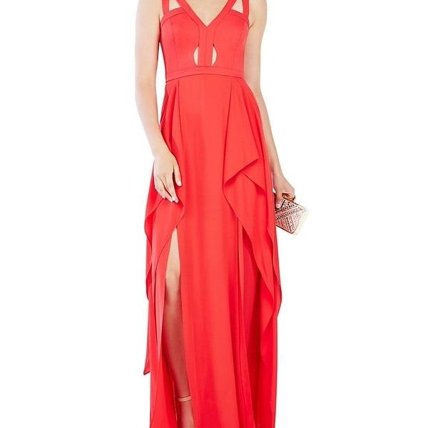 BCBG Max Azria NEW Red Womens Size 2 Chiffon Cutout Ruffle Gown ...