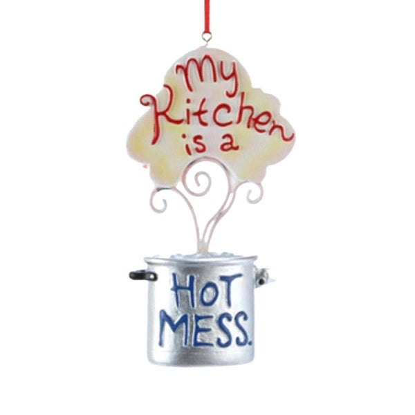 "4.5"" Boiling Pot ""My Kitchen is a Hot Mess"" Christmas Ornament"