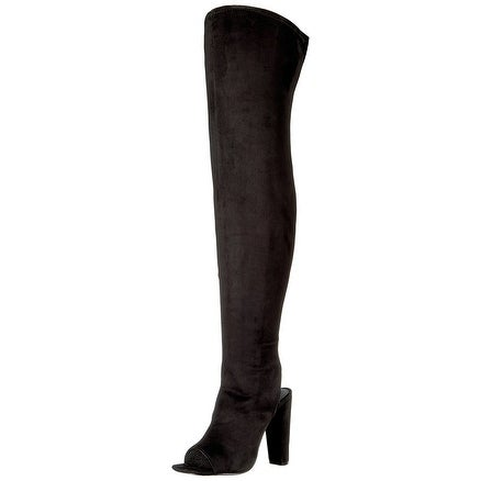 Steve Madden Womens Kimmi Suede Open Toe Over Knee Fashion Boots