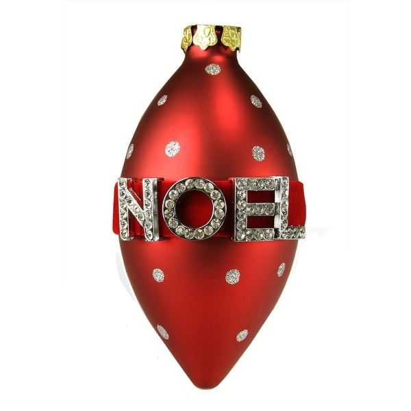 """5.5"""" Alpine Chic Red Matte with Silver Glittered Polka Dots """"NOEL"""" Glass Oval Christmas Ornament"""