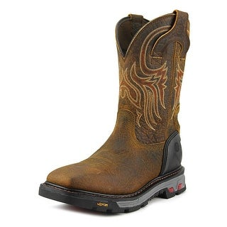 Justin Boots Commander X5 Plain Toe Men Square Toe Leather Brown Work Boot