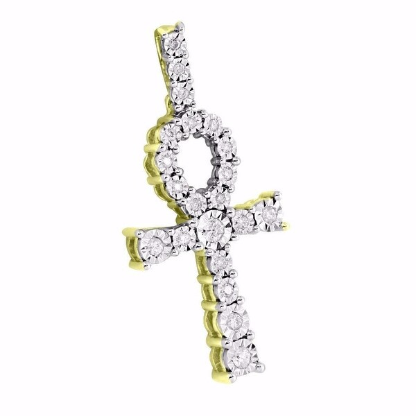 Fanook Ankh Cross Pendant 10k Yellow Gold 1.5 Inch Genuine Diamonds Symbol Life