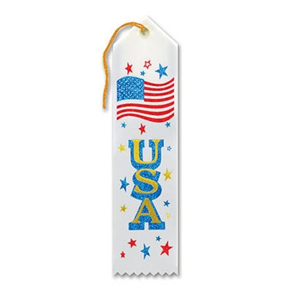 "Pack of 6 White ""USA Award"" Decorative Award Ribbon Bookmarks 8"""