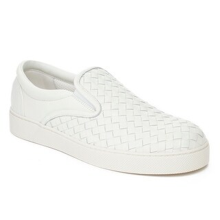 Bottega Veneta Men's Intrecciato Leather Slip-on Sneaker Shoes White