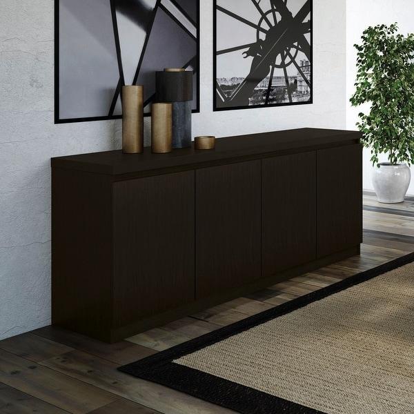 Viennese 62.99 in. 6- Shelf Buffet Cabinet in Black Matte. Opens flyout.