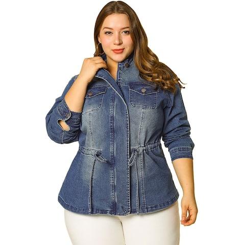 Women's Plus Size Stand Collar Zip Closure Drawstring Denim Jacket - Dark Blue
