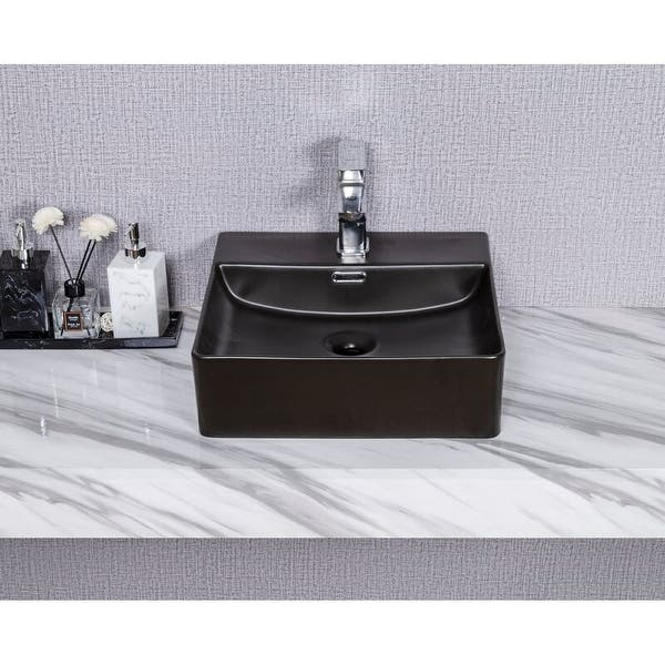 Cb Home Modern Art Ceramic Square Vessel Bathroom Sink With Overflow On Sale Overstock 31830209