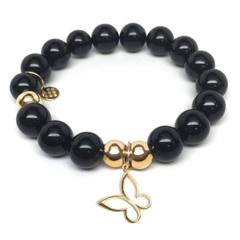 Julieta Jewelry Butterfly Charm Black Onyx Bracelet