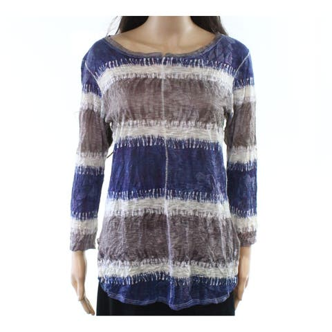 David Cline Blue Womens Size Large L Crinkled Striped Knit Top