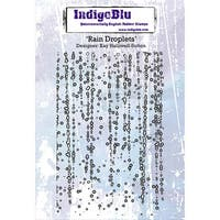"IndigoBlu Cling Mounted Stamp 5""x4""-Rain Droplets"