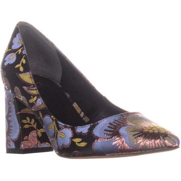 8bf9d2962 Marc Fisher Zala Pointed Toe Block Heel Pumps, Black Multi Fabric - 8 us