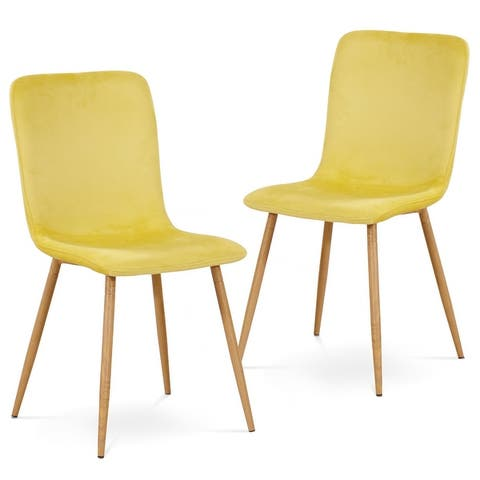 Ivinta Velvet Upholstered Dining Chair Modern Accent Chairs Set of 2 - 21.5 x 15.7 x 34.3
