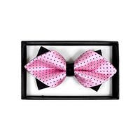Men's Pink With Blue Dots Diamond Tip Bow Tie - DBB3030-3 - regular