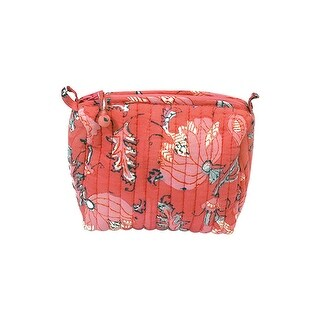 "Anju Jewelry Peony Blooms Makeup Bag - Red Floral Print, 7"" x 5"" x 7"" - 7 in. x 5 in. x 7 in."