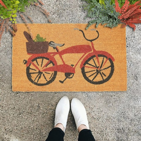 "GAURI KOHLI Natural Coir Doormat Vintage Cycle Design (30"" X 18"")"