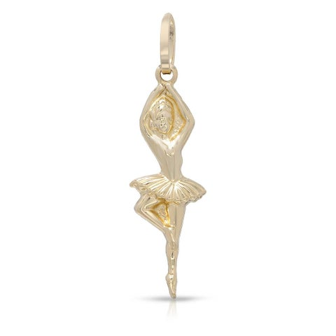 Mcs Jewelry Inc 14 KARAT YELLOW GOLD BALLERINA PENDANT CHARM (1.3 Inches)