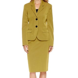 Le Suit NEW Green Women's Size 6 Notched Collar Solid Skirt Suit Set