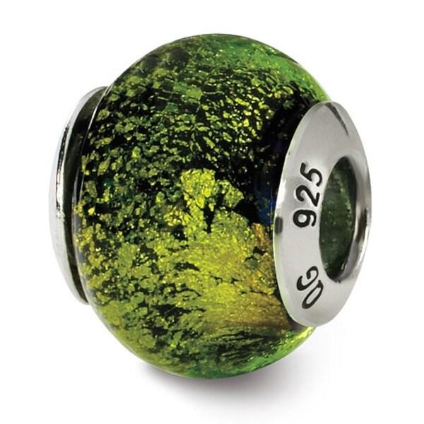 Italian Sterling Silver Reflections Green/Black Bead (4mm Diameter Hole)