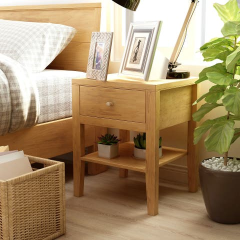 Furniture of America Larc Mid-Century Modern Solid Wood 1-drawer Nightstand