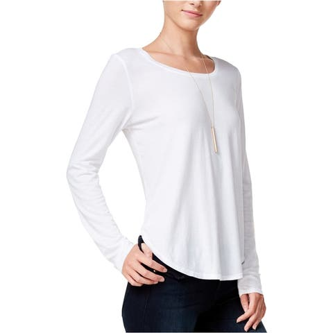 Chelsea Sky Womens High-Low Basic T-Shirt, White, X-Large