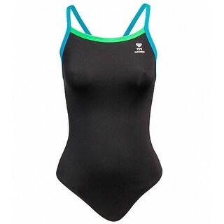 TYR Womens Racerback Contrast Trim One-Piece Swimsuit