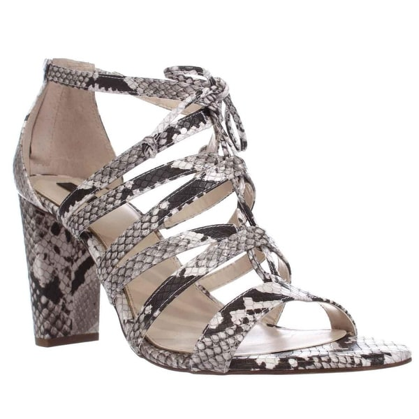 A35 Jaqui Lace Up Strappy Sandals, Natural Python