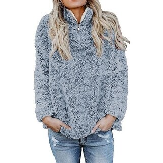 Furry Fleece Half-Zip Pullover, Multiple Colors Available