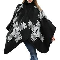 QZUnique Women Sweater Cardigan Cloak Geometric Pattern Pullover Shawl