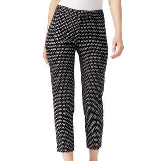 Anne Klein NEW Black White Women's Size 2 Knit Slim Ankle Pants