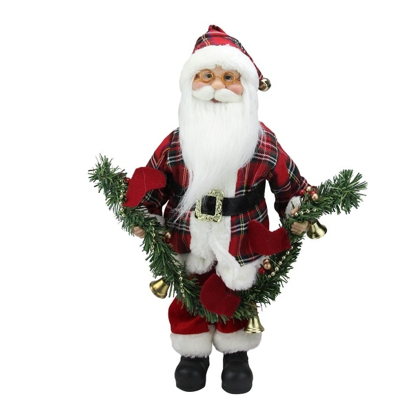 18 santa claus holding a pine garland tabletop decoration red