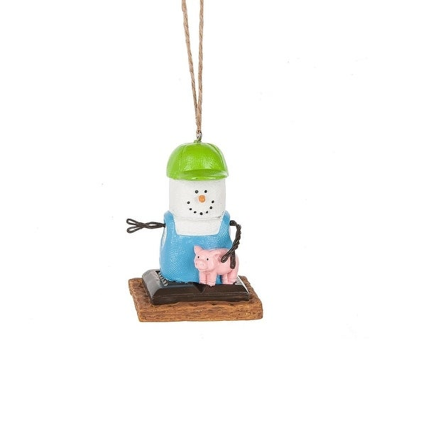 "2.75"" S'mores Farmer and Piglet Marshmallow Christmas Ornament - green"