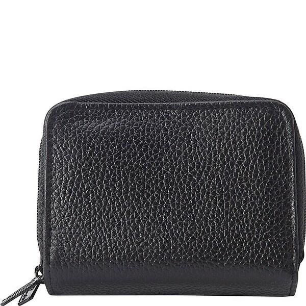 Buxton Women's Leather Mini Accordion Wizard Wallet - Black
