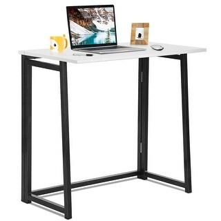 Gymax Folding Computer Desk Table Laptop PC Writing Study Workstation White