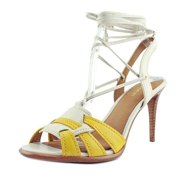 Coach Kiara Women Open-Toe Leather Yellow Slingback Heel