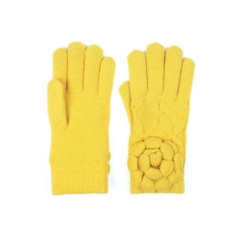 Womens Winter Knit Gloves with Flower Accent Fleece Lined