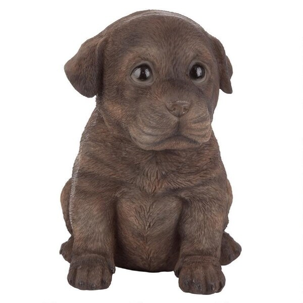 "6'"" Sitting Chocolate Lab Puppy Dog Hand Painted Outdoor Garden Statue - N/A"