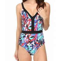 a9d8e8af05f56 Shop Jantzen Women's Halter Cutout Leaf Print One-Piece - On Sale ...