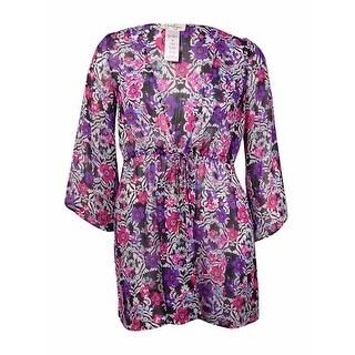Jessica Simpson Women's Floral Belted Crepe Kimono Swim Cover