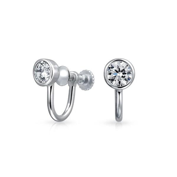 d70b59b82 Shop Minimalist Geometric Round Solitaire Bezel Cubic Zirconia CZ Screwback  Clip On Stud Earrings For Women Sterling Silver - On Sale - Free Shipping  On ...