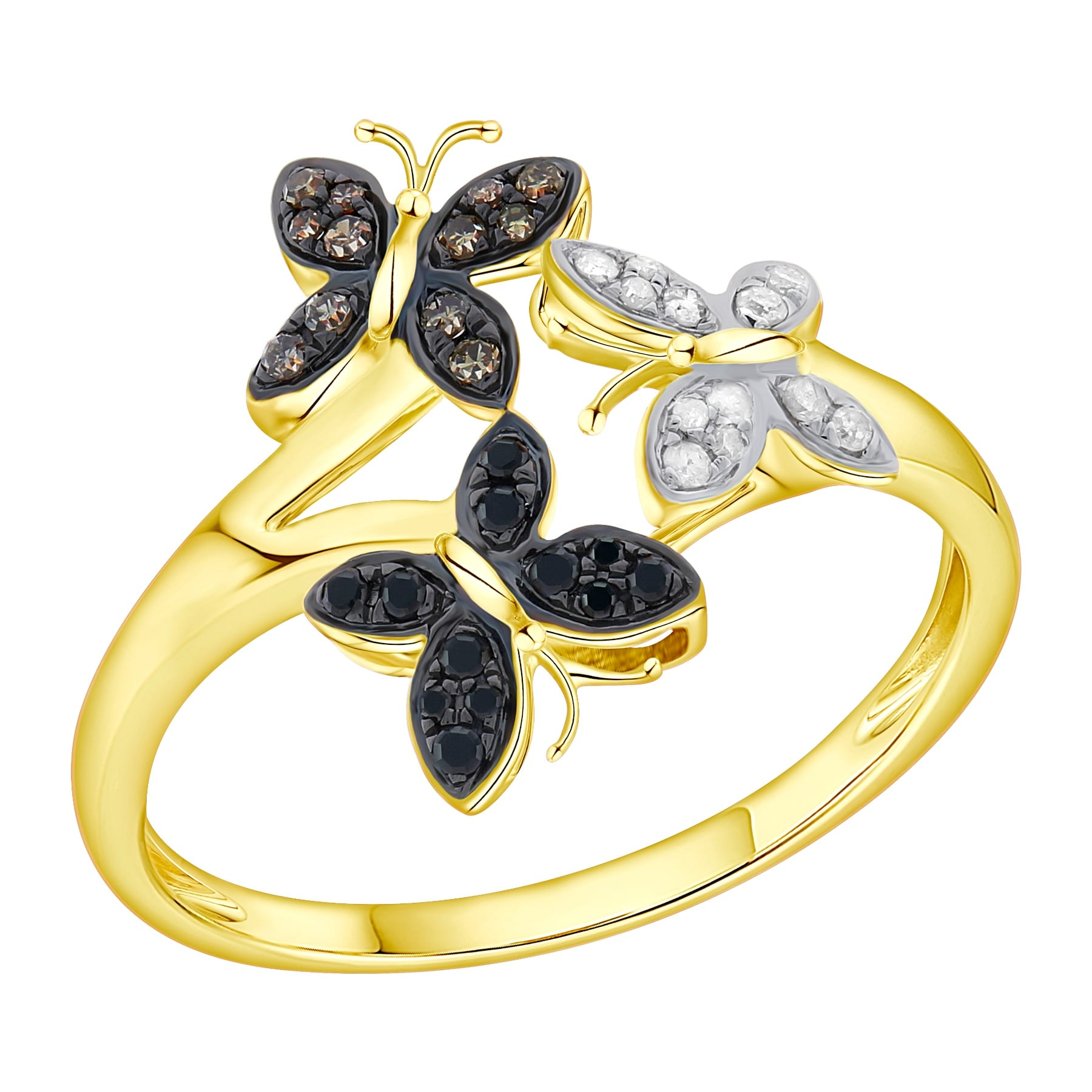 Prism Jewel 0.26 TDW Multi Color Diamond Tri-Butterfly Ring - Black/Brown/White G-H - Thumbnail 0