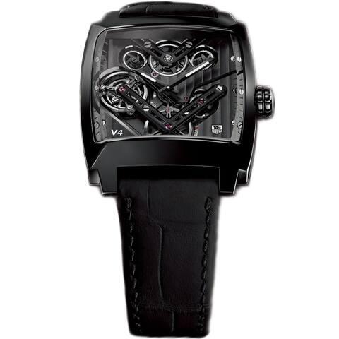 Tag Heuer Men's WAW2081.FC6348 'Monaco' Black Leather Watch